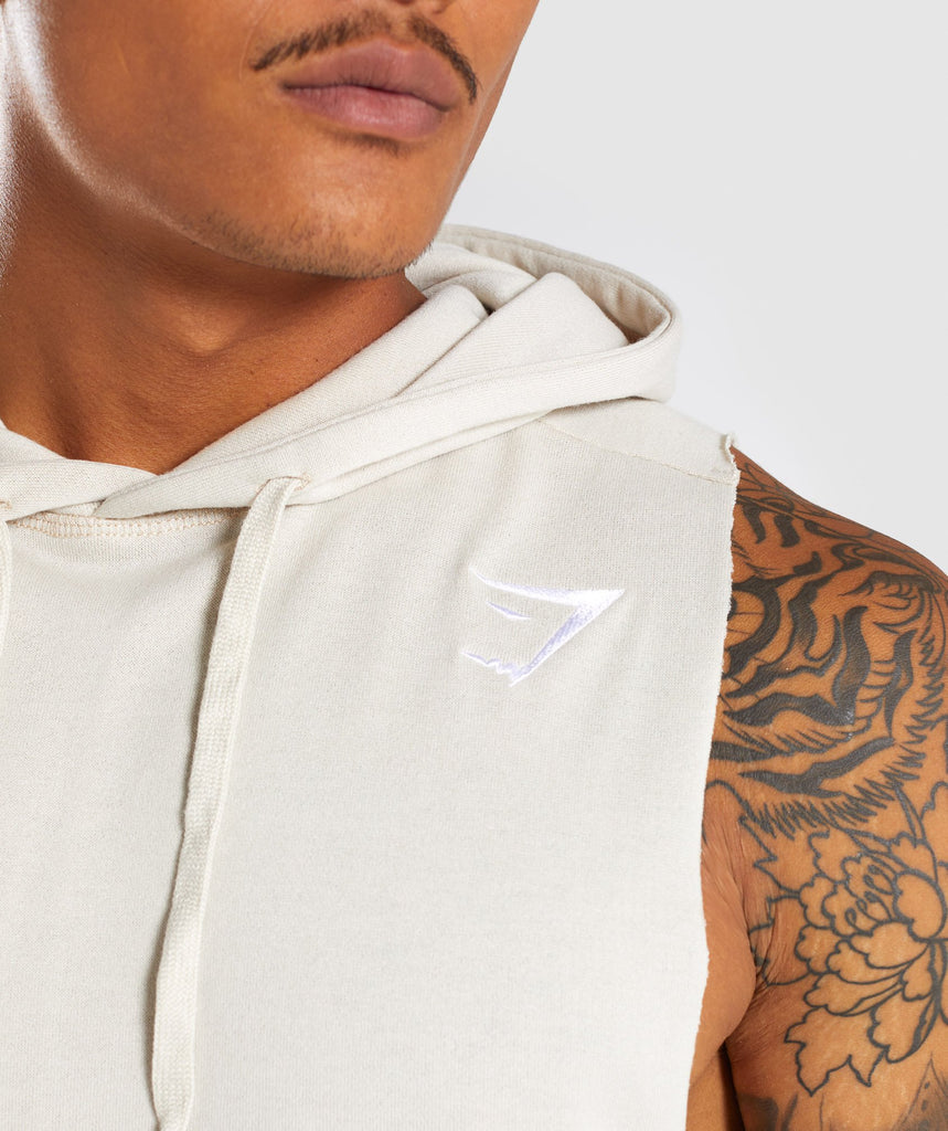 Gymshark Drop Arm Sleeveless Hoodie - Warm Beige 5
