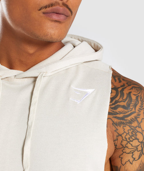 Gymshark Drop Arm Sleeveless Hoodie - Warm Beige 4
