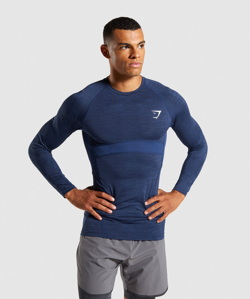 Gymshark Element+ Baselayer Long Sleeve Top - Dark Blue Marl 1
