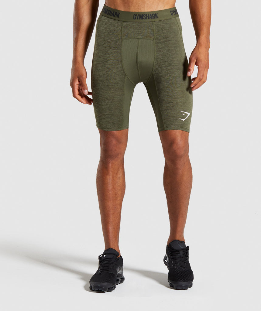 Gymshark Element+ Baselayer Shorts - Dark Green Marl 1