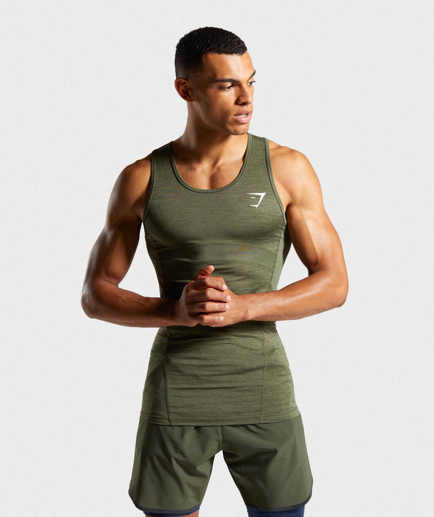 Gymshark Element+ Baselayer Tank - Dark Green Marl 1