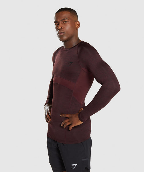 Gymshark Element+ Baselayer Long Sleeve Top - Ox Red Marl 2