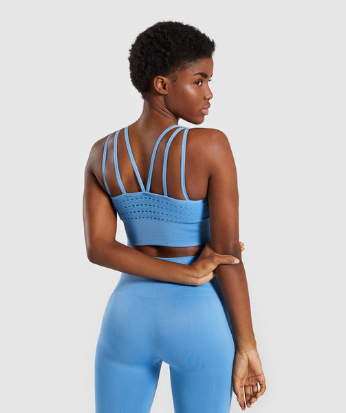 Gymshark Energy+ Seamless Crop Top - Blue 1