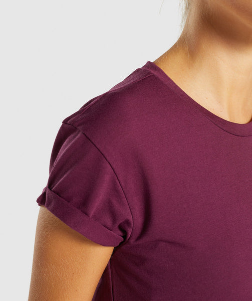 Gymshark Essential Be A Visionary Tee - Dark Ruby/White 2