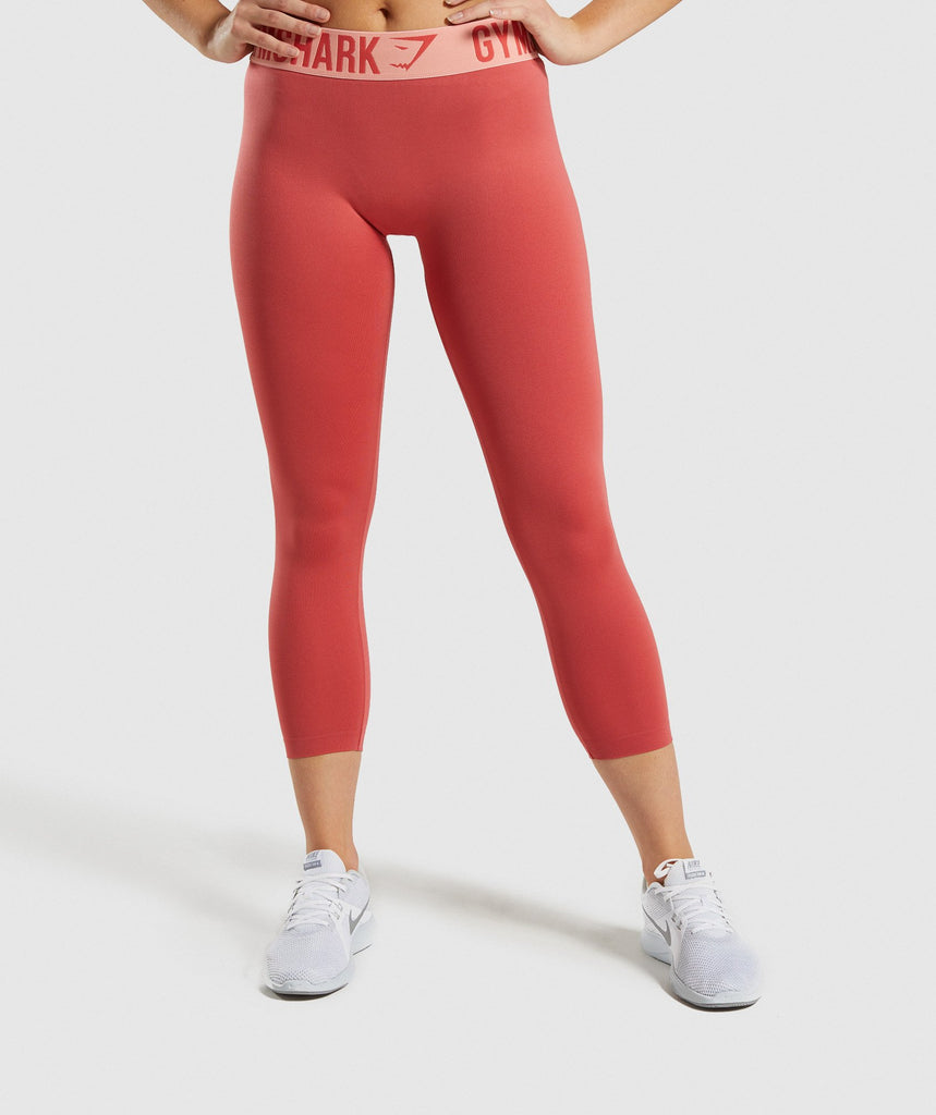Gymshark Fit Cropped Leggings - Orange 1
