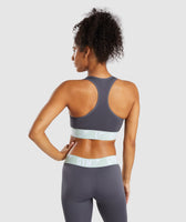 Gymshark Fit Sports Bra - Grey/Light Green 8