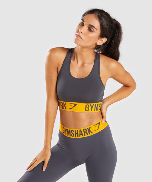 Gymshark Fit Sports Bra - Charcoal/Citrus Yellow 4