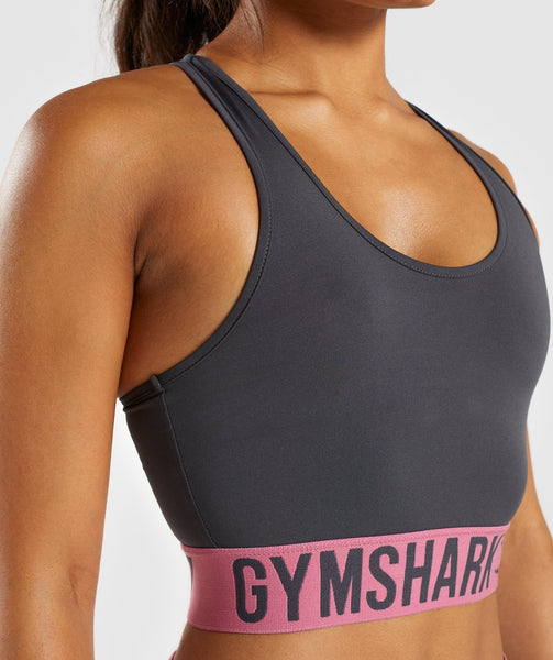 Gymshark Fit Sports Bra - Charcoal/Dusky Pink 4