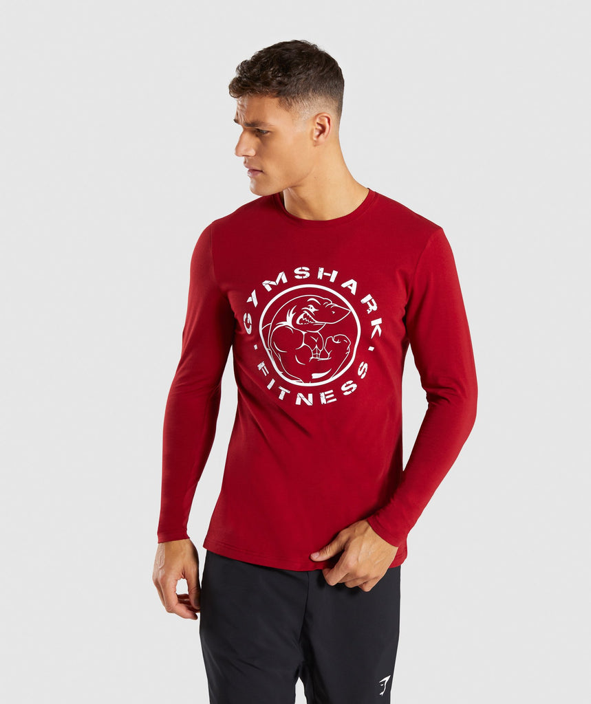 Gymshark Legacy Long Sleeve T-Shirt - Full Red 1
