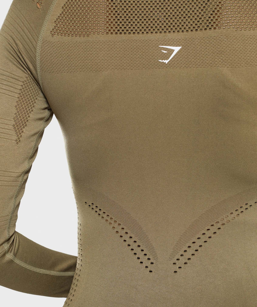 Gymshark Flawless 1/2 Zip Up Pullover - Khaki 6