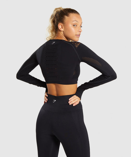 Gymshark Flawless Knit Long Sleeve Crop Top - Black 1