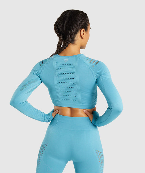 Gymshark Flawless Knit Long Sleeve Crop Top - Sea Blue 1