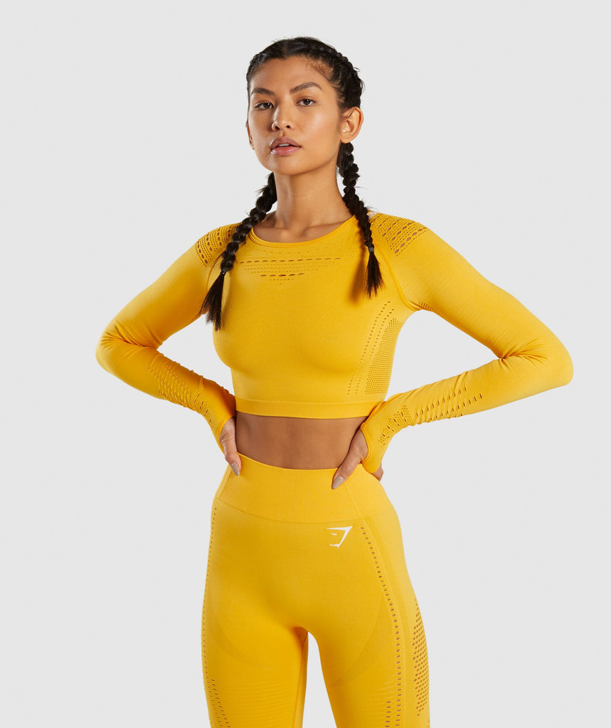 Gymshark Flawless Knit Long Sleeve Crop Top - Yellow 1