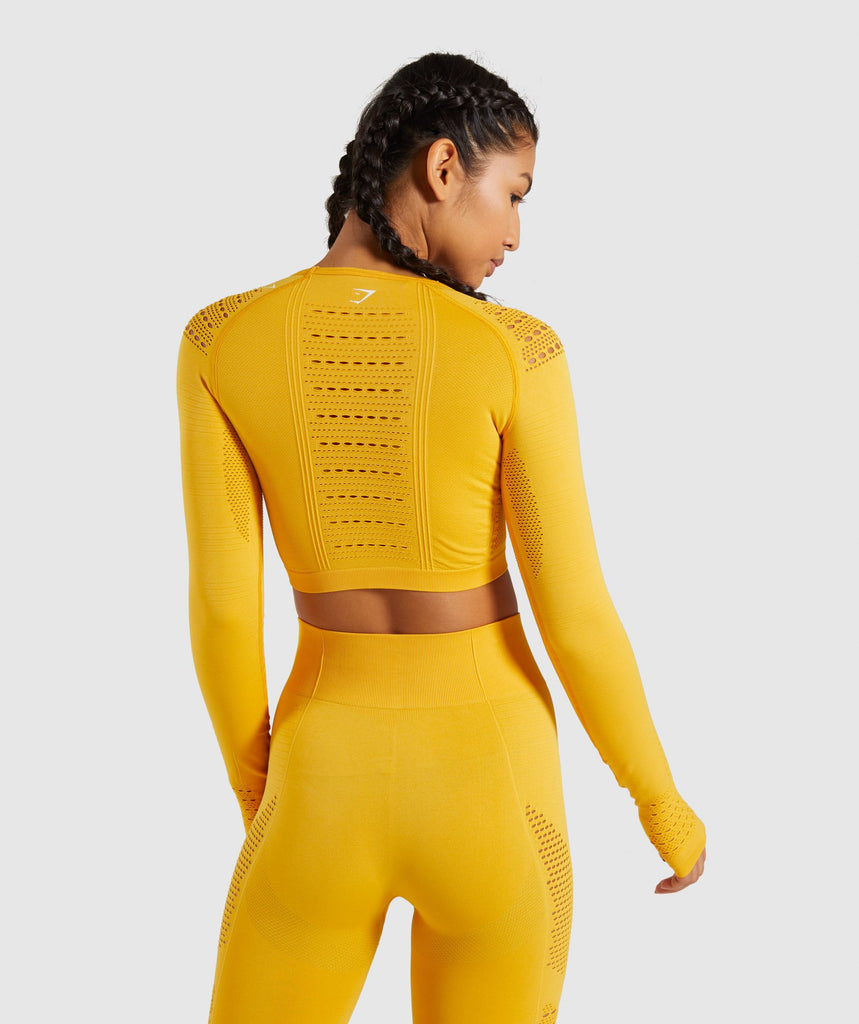 Gymshark Flawless Knit Long Sleeve Crop Top - Yellow 2