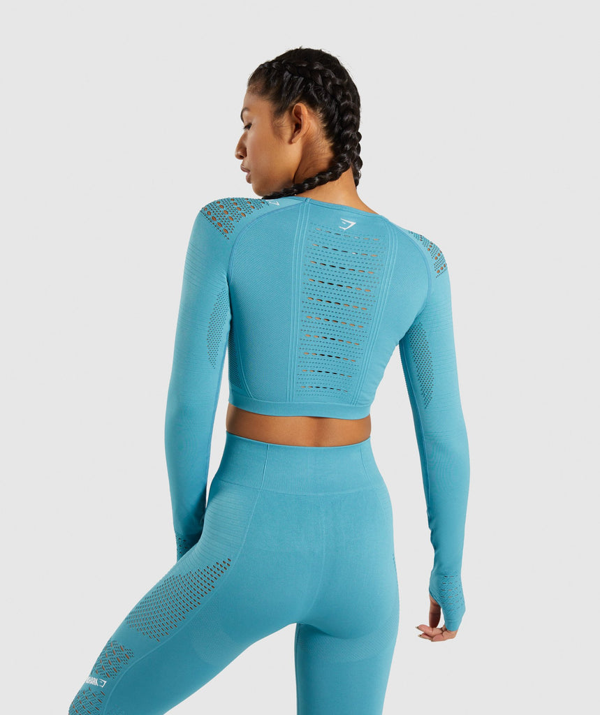 Gymshark Flawless Knit Long Sleeve Crop Top - Teal 2
