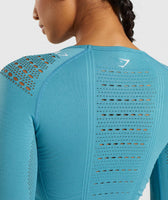 Gymshark Flawless Knit Long Sleeve Crop Top - Teal 12
