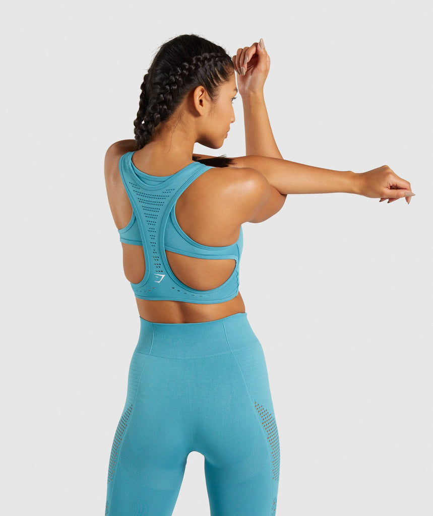 Gymshark Flawless Knit Sports Bra - Teal 2