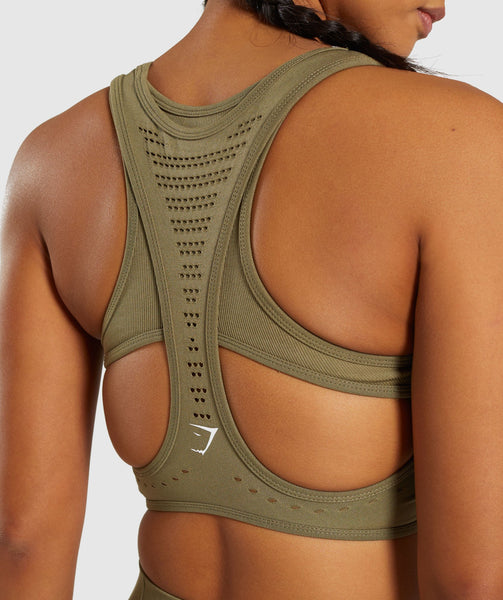 Gymshark Flawless Knit Sports Bra - Khaki 4