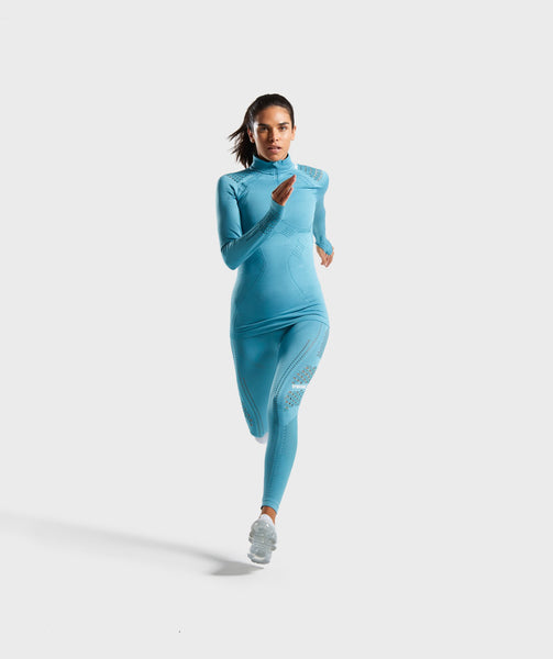 Gymshark Flawless 1/2 Zip Up Pullover - Teal 2