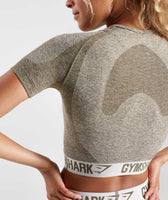 Gymshark Flex Crop Top - Khaki/Sand 12