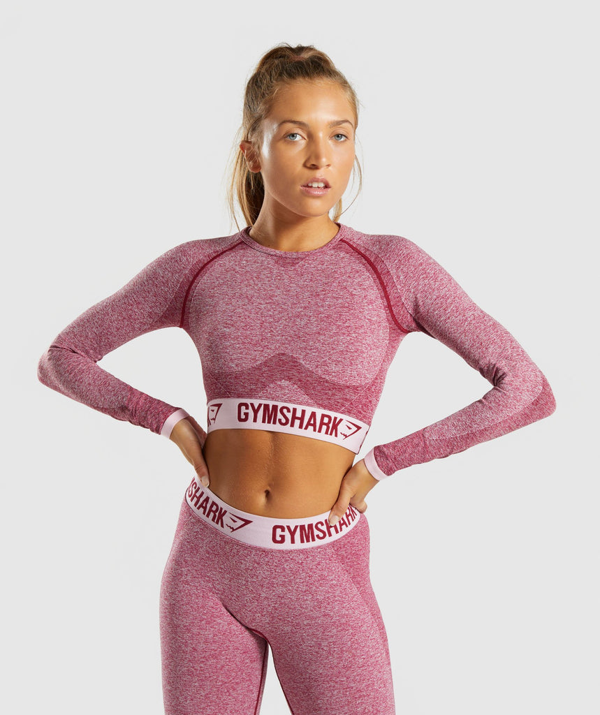 Gymshark Flex Long Sleeve Crop Top - Beet Marl/Chalk Pink 1