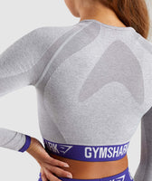 Gymshark Flex Long Sleeve Crop Top - Light Grey Marl/Indigo 12