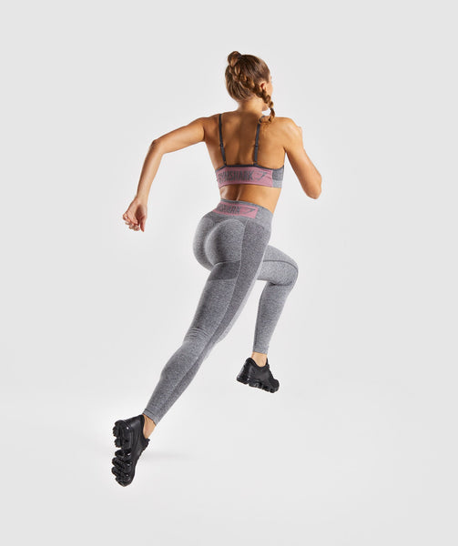 Gymshark Flex High Waisted Leggings - Charcoal Marl/ Dusky Pink 3