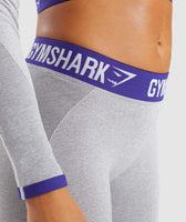 Gymshark Flex Leggings - Light Grey Marl/Indigo 11