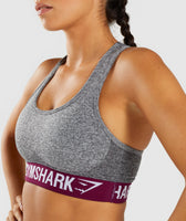 Gymshark Flex Sports Bra - Charcoal/Deep Plum 12