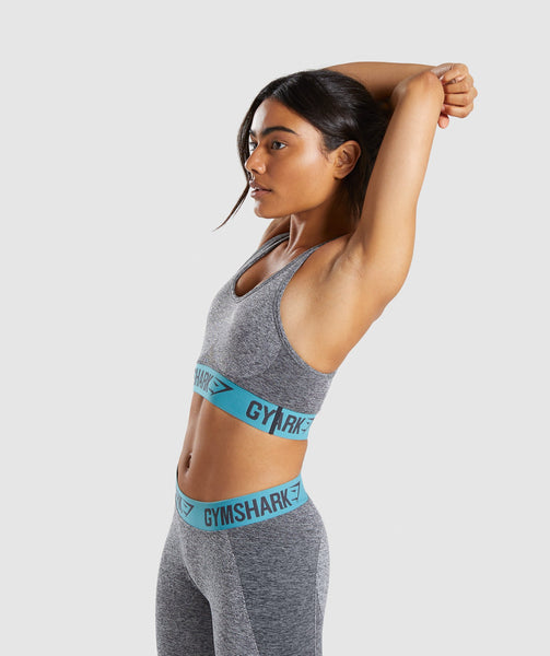 Gymshark Flex Sports Bra - Charcoal Marl/Dusky Teal 2
