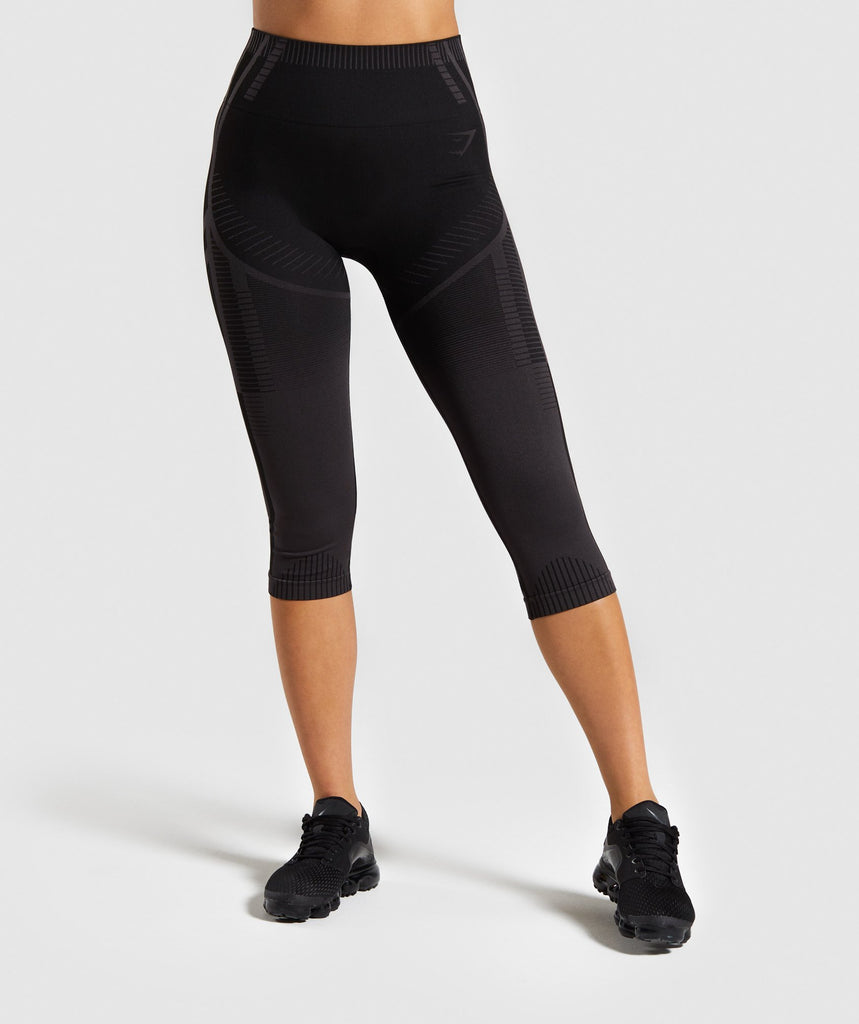 Gymshark Geo Seamless Cropped Leggings - Black 1