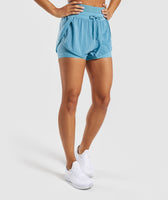 Gymshark Geo Mesh Two In One Short - Dusky Teal 7