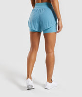 Gymshark Geo Mesh Two In One Short - Dusky Teal 8