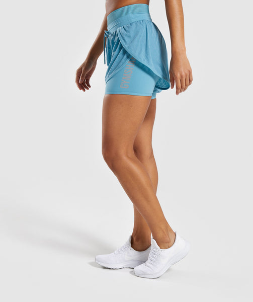 Gymshark Geo Mesh Two In One Short - Dusky Teal 2