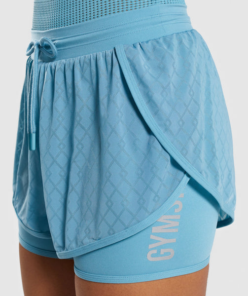 Gymshark Geo Mesh Two In One Short - Dusky Teal 4