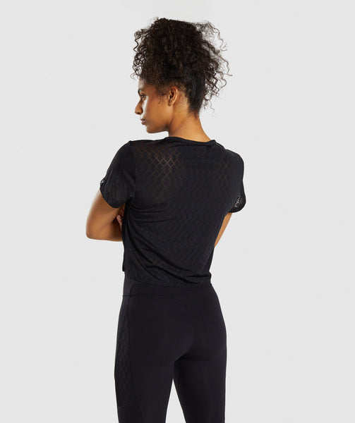 Gymshark Geo Mesh Two In One Top - Black 1