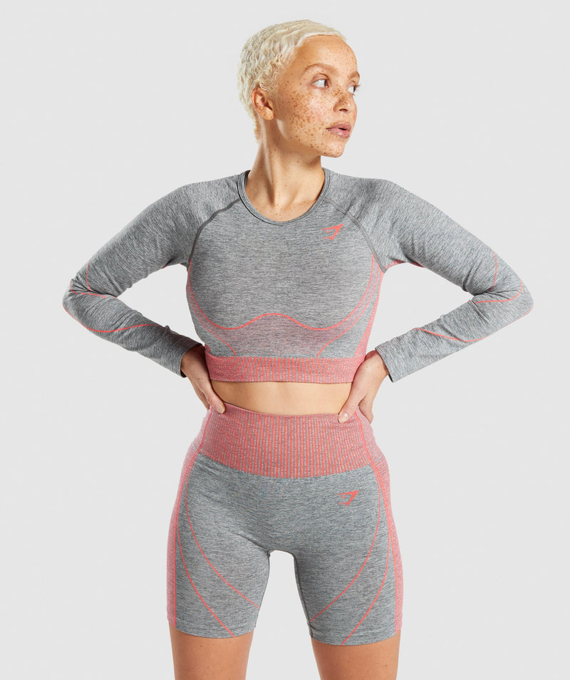 Gymshark Hyper Amplify Long Sleeve Crop Top - Charcoal Marl/Coral