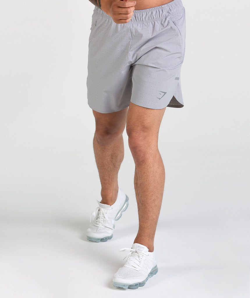 Gymshark Perforated Shorts - Light Grey 1