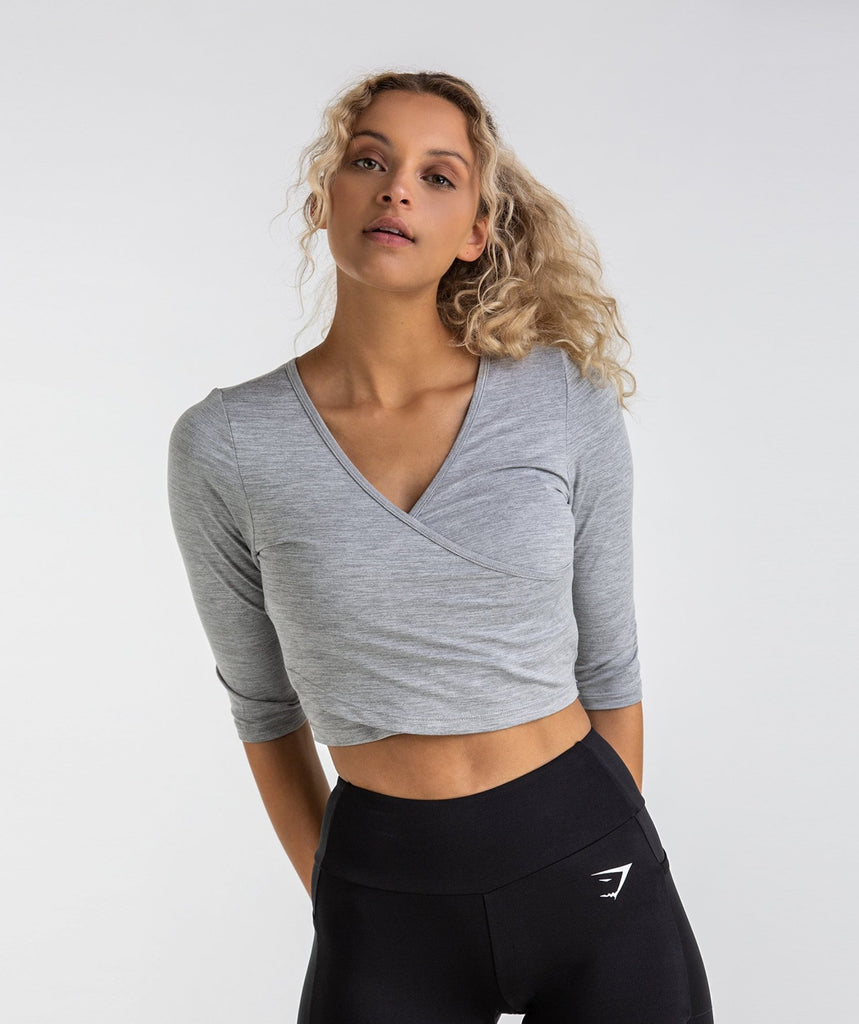 Gymshark Ballet Crop Top - Light Grey Marl 1