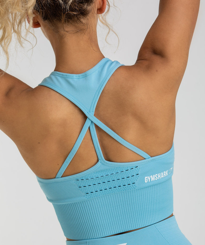 Gymshark Energy Seamless Crop Top - Sky Blue 6