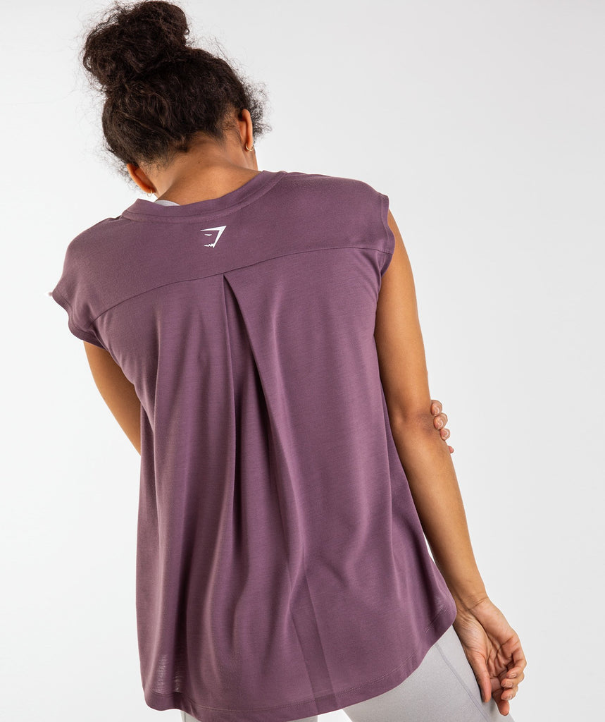 Gymshark Pleat Back Tee - Purple Wash 2