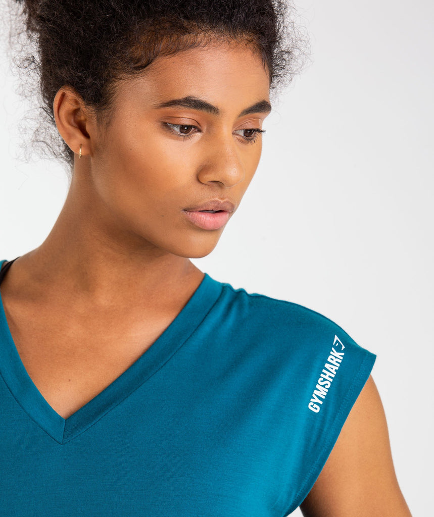 Gymshark Pleat Back Tee - Deep Teal 5