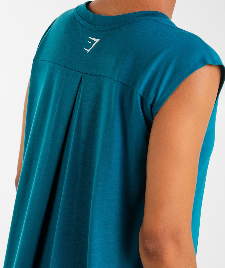Gymshark Pleat Back Tee - Deep Teal 6