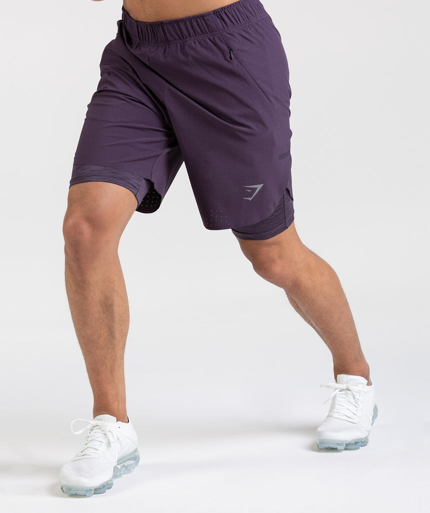Gymshark Perforated Two In One Shorts - Nightshade Purple 1