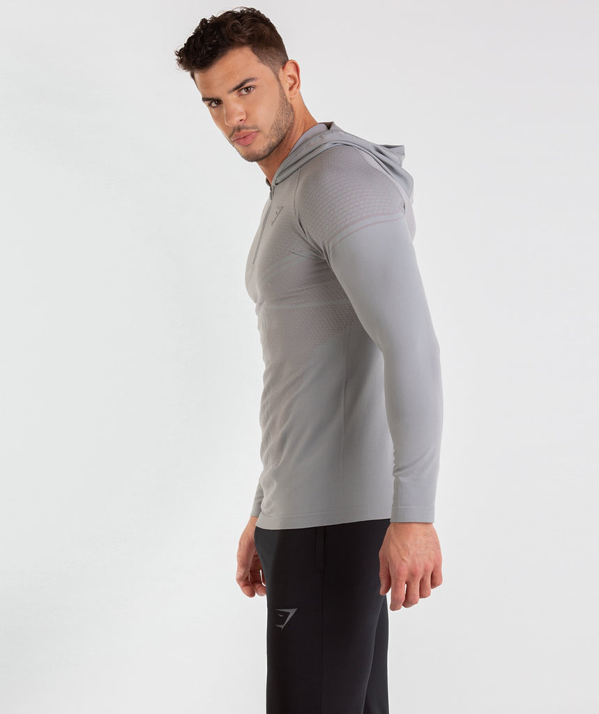Gymshark Onyx Imperial Long Sleeve Hooded Top - Light Grey 2