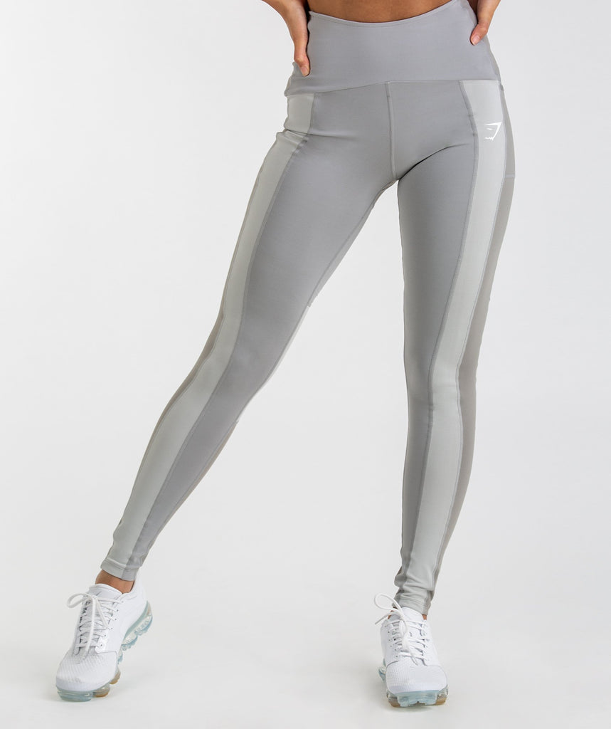 Gymshark Tonal Block Leggings - Light Grey 1