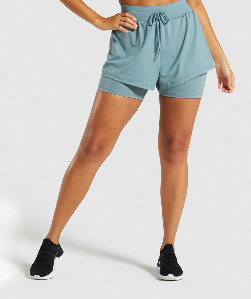 Gymshark Lustre 2 in 1 Shorts - Turquoise 1