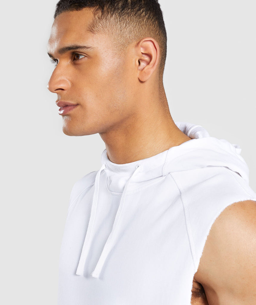 Gymshark Laundered Sleeveless Hoodie - White 6