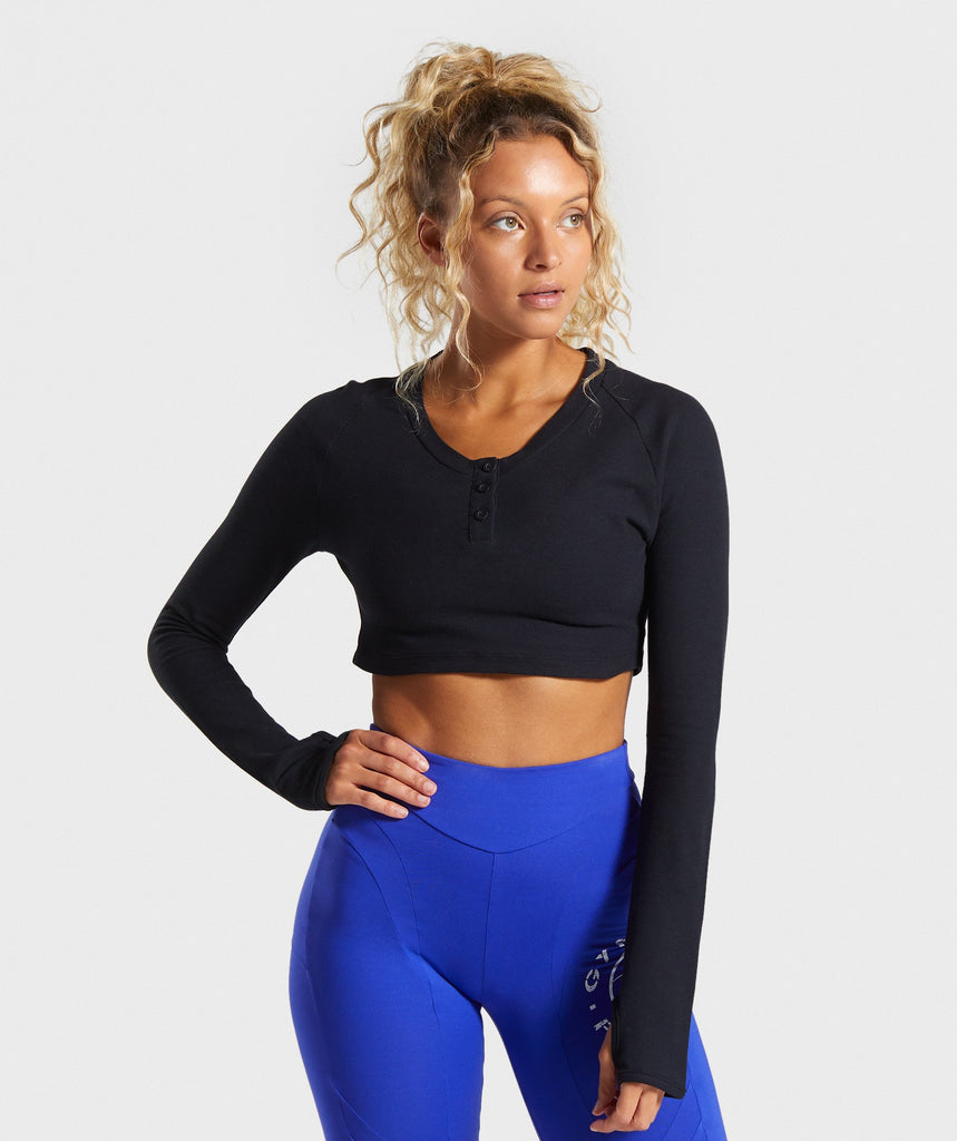 Gymshark Legacy Fitness Long Sleeve Crop Top - Black 1