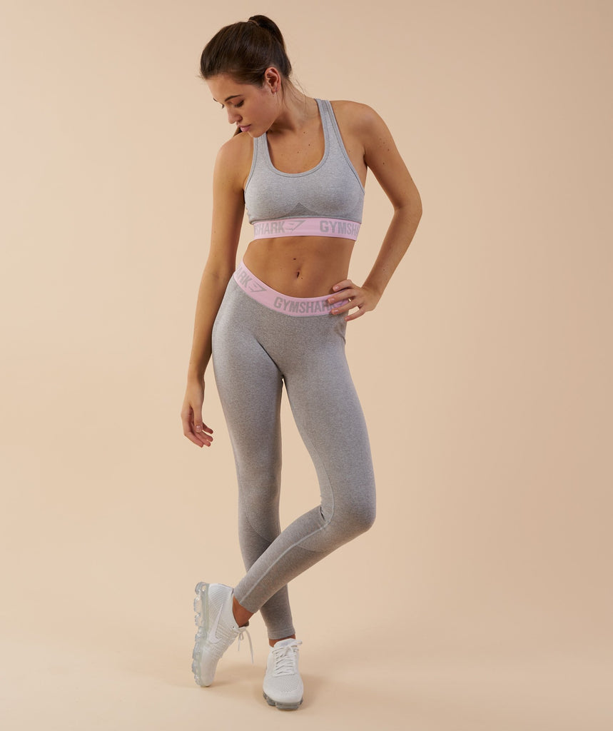 Gymshark Flex Leggings - Light Grey Marl/Chalk Pink 1